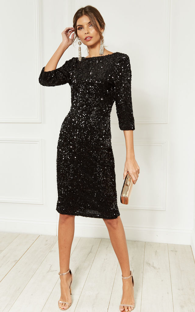 7e9cbfc2d43 Black Sequin Velvet Backless Midi Dress With Half Sleeves. By Lilah Rose