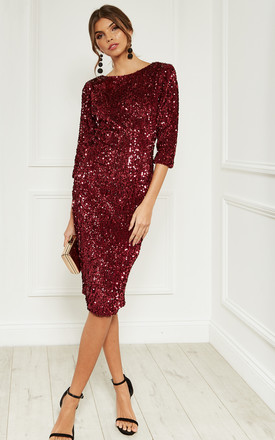 Wine Sequin Velvet Backless Midi Dress With Half Sleeves by Bella and Blue Product photo