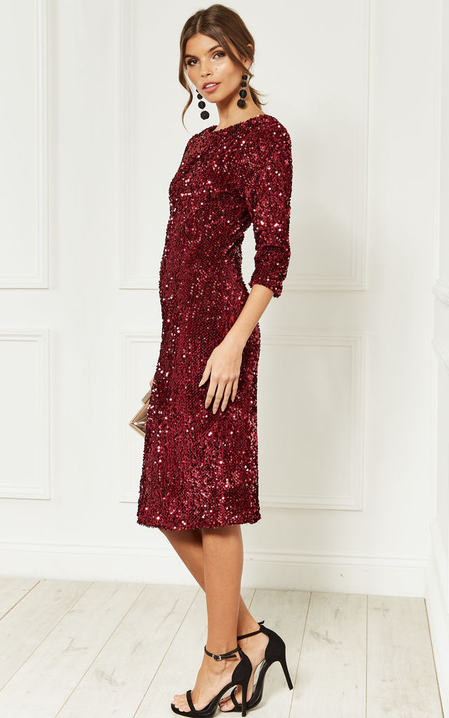 4d46df27faa Wine Sequin Velvet Backless Midi Dress With Half Sleeves by Lilah Rose