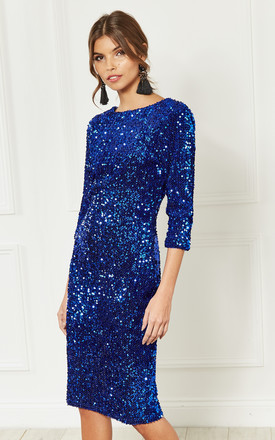 Cobalt Sequin Velvet Backless Midi Dress With Half Sleeves by Bella and Blue