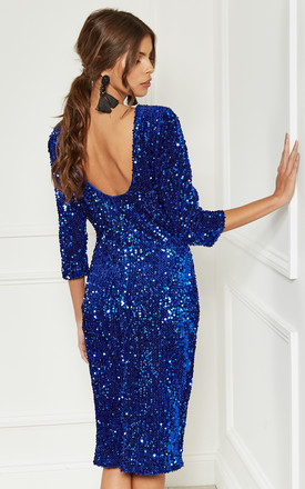 508c192fd5e Cobalt Sequin Velvet Backless Midi Dress With Half Sleeves by Lilah Rose