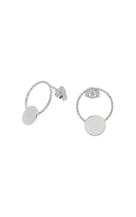 LARGE 12MM CIRCLE AND DISC STUD EARRINGS STERLING SILVER by Lucy Ashton Jewellery