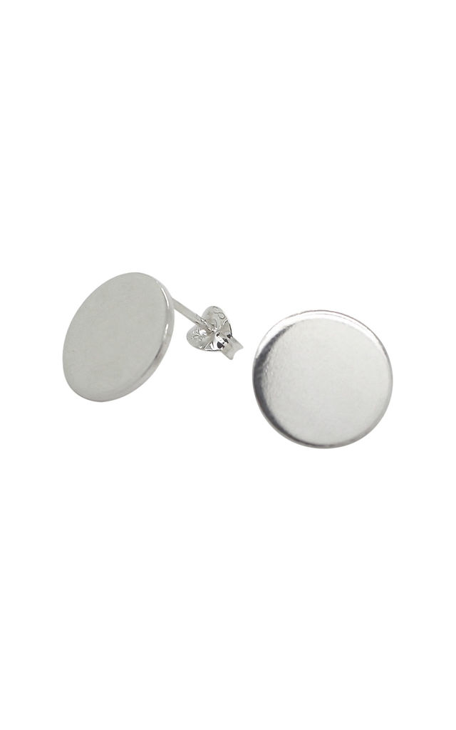 LARGE 12MM CIRCLE DISC STUD EARRINGS STERLING SILVER by Lucy Ashton Jewellery
