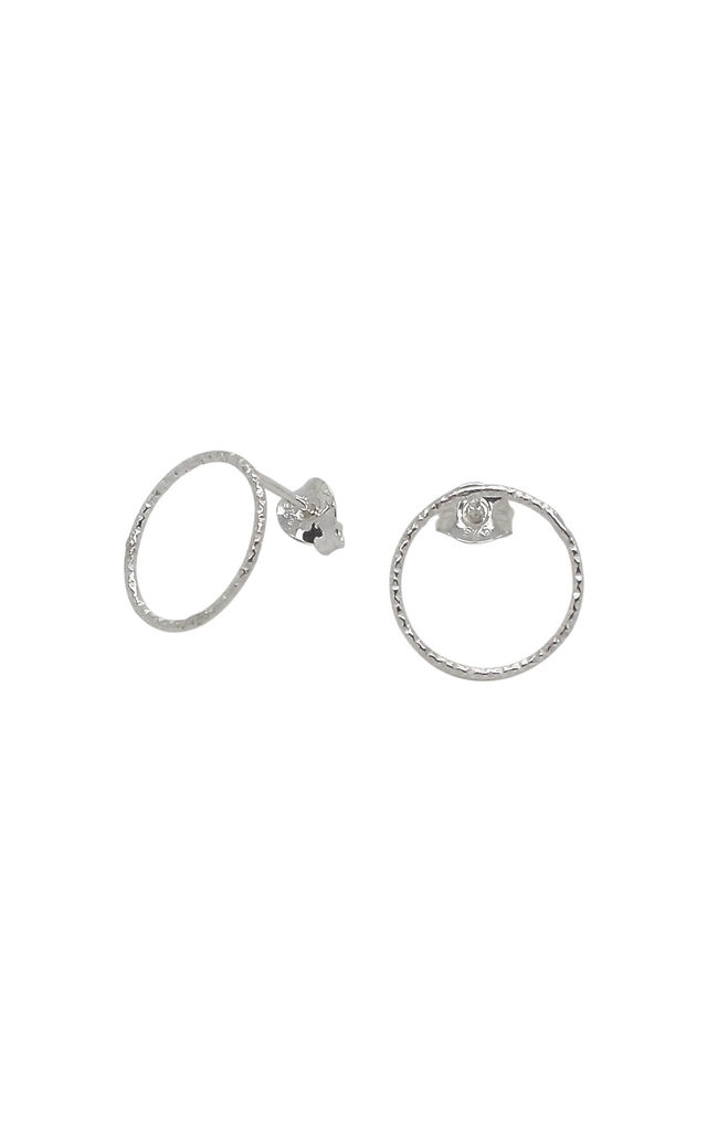 LARGE CIRCLE STUD EARRINGS STERLING SILVER by Lucy Ashton Jewellery