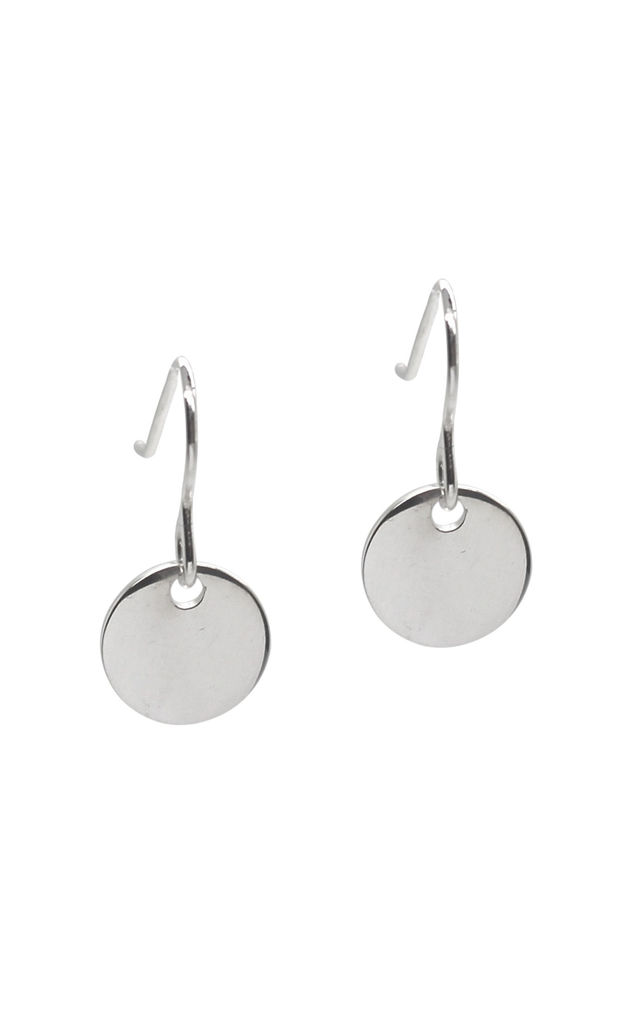 CIRCLE DISC DROP EARRINGS STERLING SILVER by Lucy Ashton Jewellery