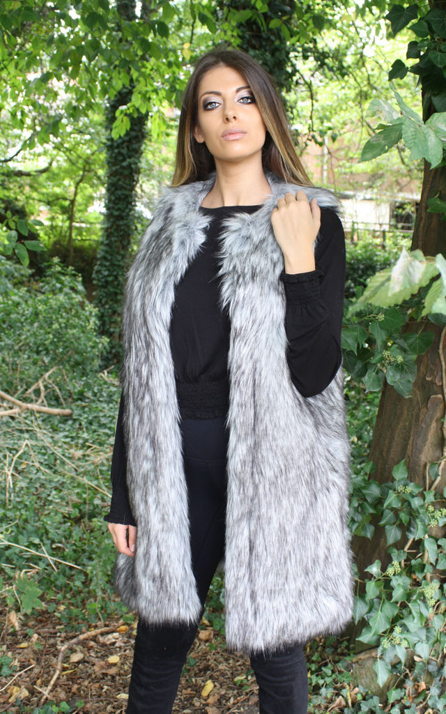 Saffra Silver Grey Long Line Faux Fur Gilet by Faux England
