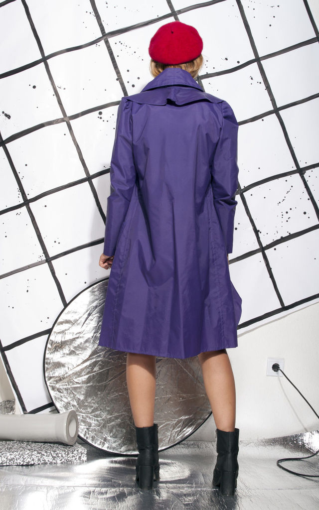 Weird raincoat - 90s vintage jabot trench coat in purple by Pop Sick Vintage