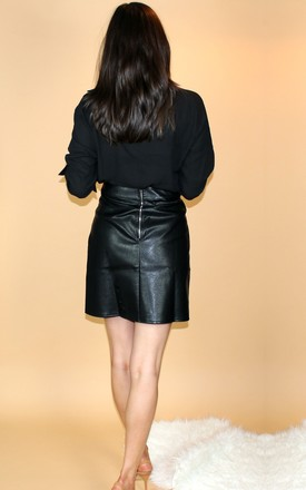 Black Faux Leather Skirt by HAUS OF DECK