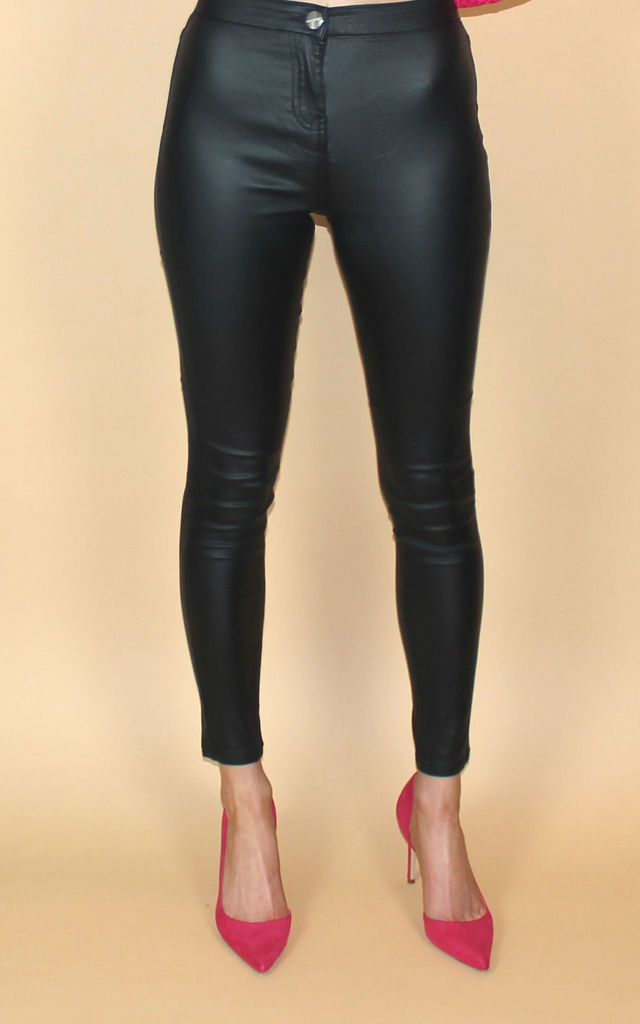 Leather Look Wax Coated Trousers by HAUS OF DECK