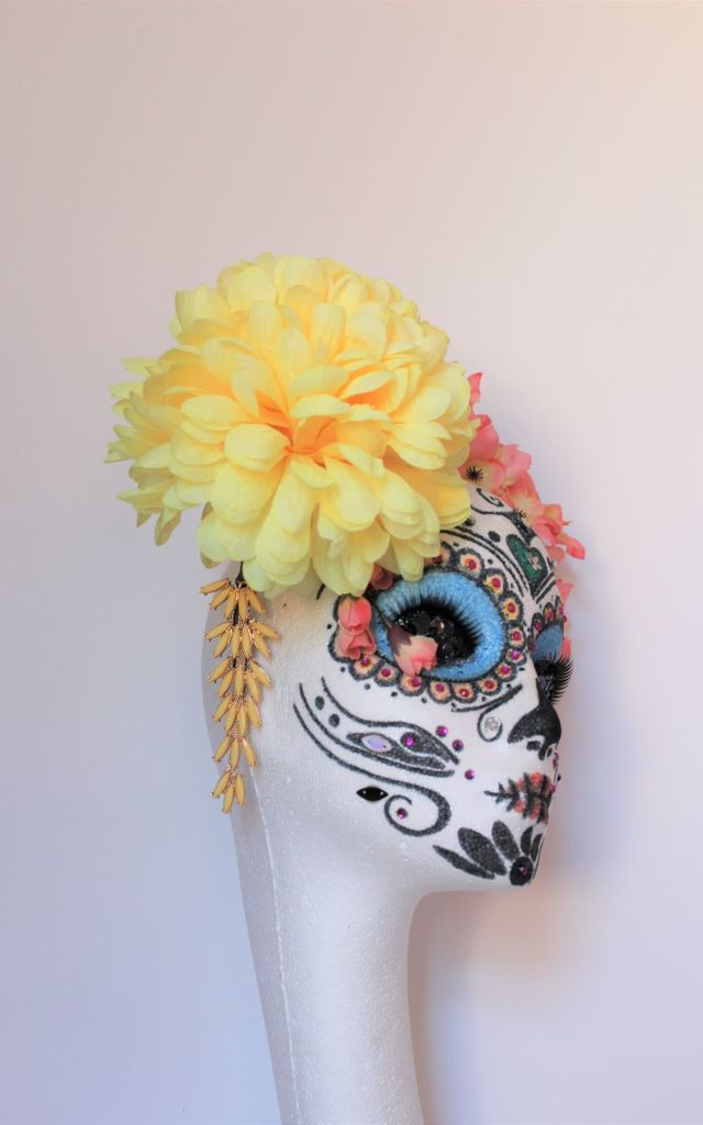 Haloween large flower headpiece headband by Kate Coleman