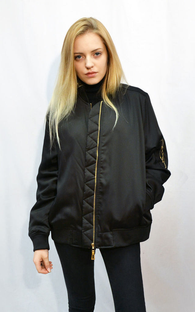 Oversized Satin Bomber Jacket in Black by CY Boutique