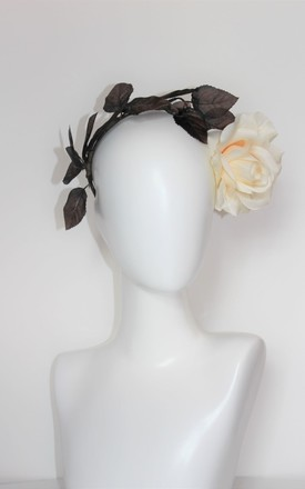 Winter cream rose leaf headdress by Kate Coleman