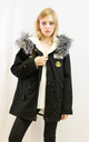 Parka Coat with Faux Fur Trim Hood and Patches in Grey/Black by CY Boutique