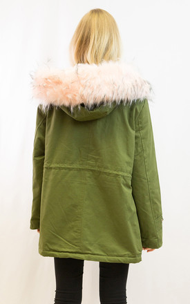 Parka Coat with Faux Fur Trim Hood and Patches in Pink/Green by CY Boutique