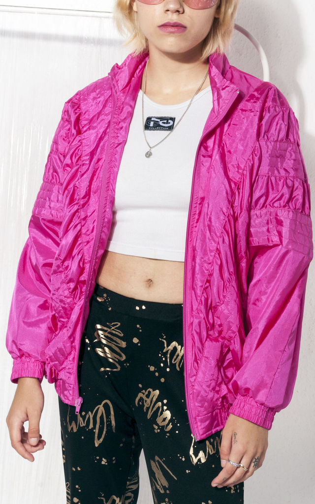 Track jacket 90s vintage windbreaker bomber in pink by Pop Sick Vintage