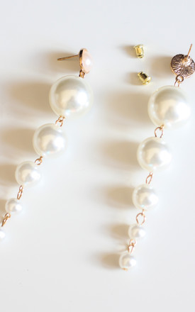 Long Pearl Drop Statement Earrings- White by Free Spirits