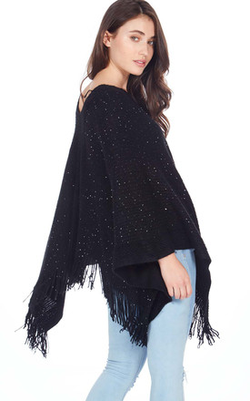 SAILOR – Sequin Tassel Detail Black Poncho by Blue Vanilla