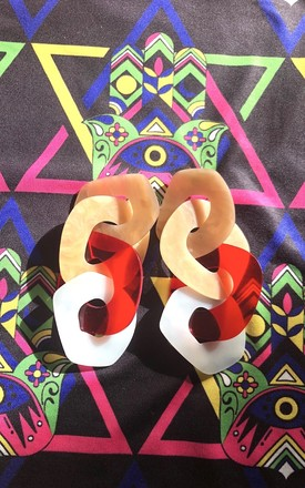 Multi link red and ivory statement resin earrings by Lovelock jewels