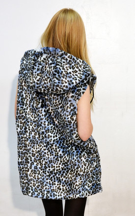 Blue color leopard print faxu fur oversized gilet coat by CY Boutique