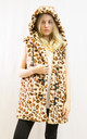 Multi leopard print faux fur oversized gilet coat by CY Boutique