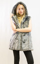 Faux fur oversized gilet coat in grey color by CY Boutique