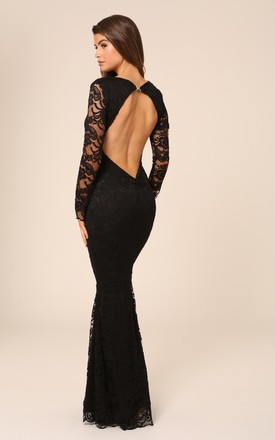Faye Black Backless Lace Fishtail Maxi Dress With Long Sleeves by Honor Gold Product photo