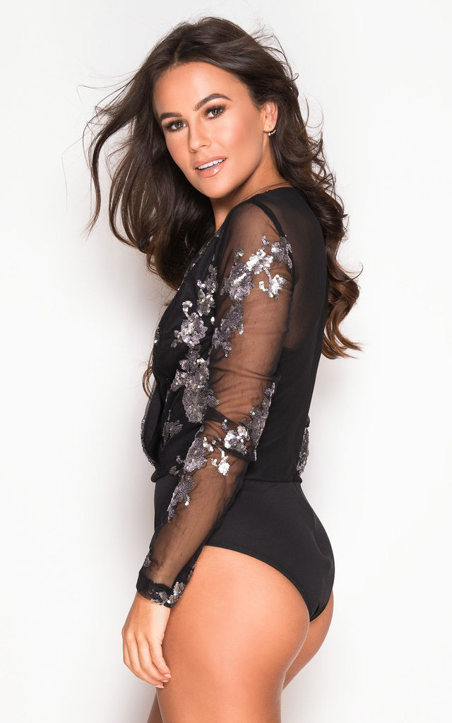 Eva Sequin Long Sleeve Bodysuit Black & Silver by Girl In Mind