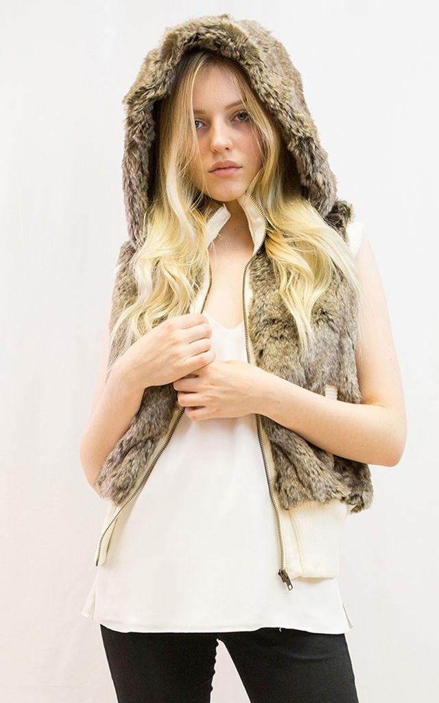 Faux Fur Gilet with Hood in Brown by CY Boutique