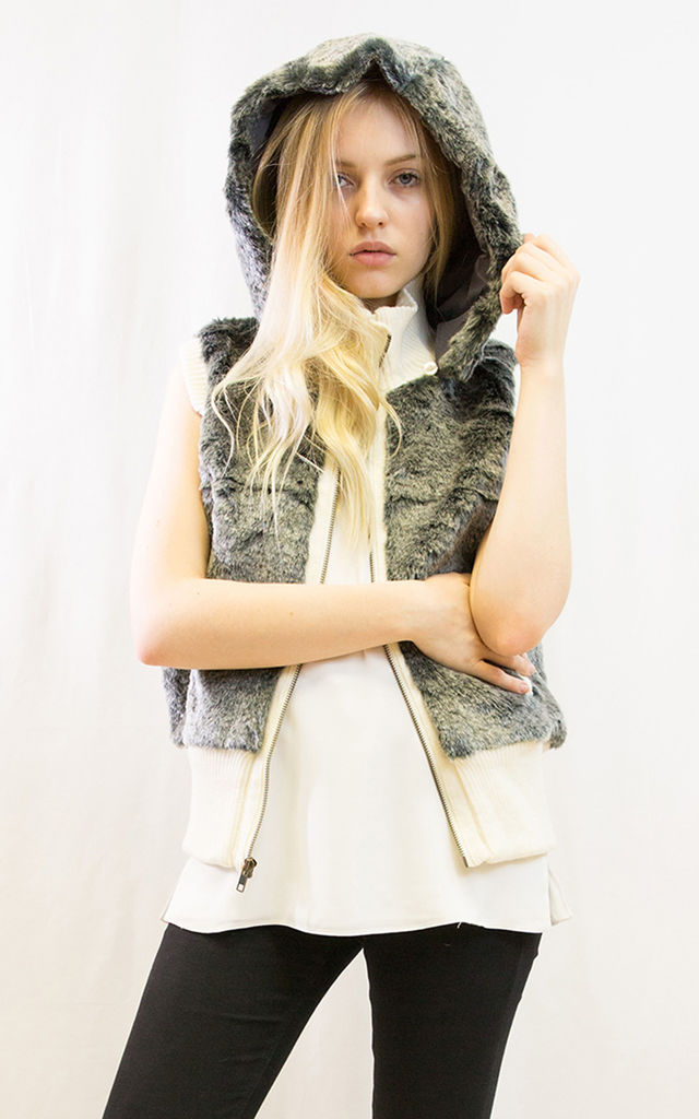 Super soft faux fur hoodie gilet waistcoat by CY Boutique