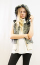 Faux Fur Gilet with Hood in Grey and Cream by CY Boutique