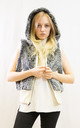 Faux Fur Gilet with Hood in Grey Mix by CY Boutique