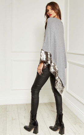 Grey Sequin Hem Poncho by Lilah Rose