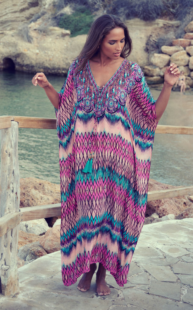 Maxima Pink Maxi Kaftan with Turquoise Tassels by Kitten Beachwear