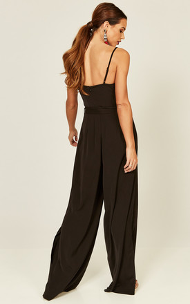 Francesca Black cowl neck split leg jumpsuit by Phoenix + Feather