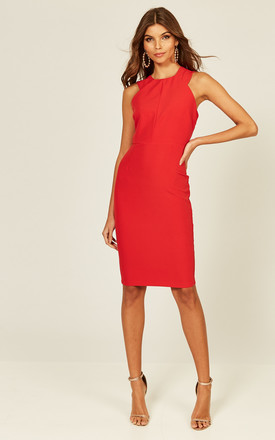 edde3ec3907b Lucy Red Racer Front Neckline Fitted Dress