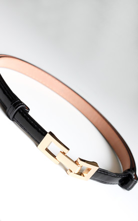 Black Skinny Adjustable Belt with Gold Loop Buckle by FreeSpirits
