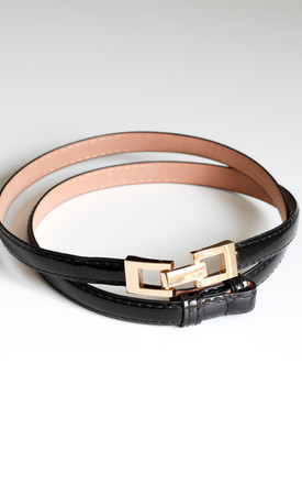 3ac5bf1d0a Black Skinny Belt With Gold Loop Buckle