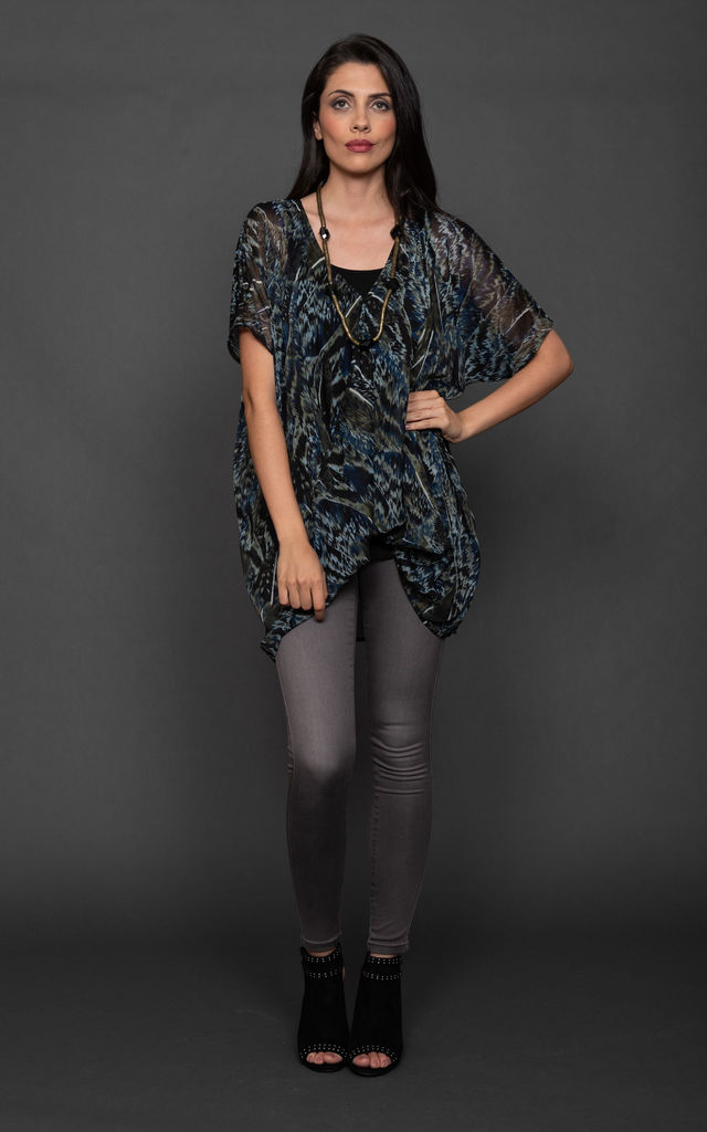 Wrap Front Top Navy Print Dare 382 by DARE LABEL