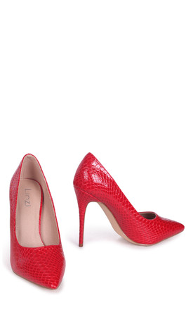Aston Red Lizard Patent Classic Pointed Court Heel by Linzi