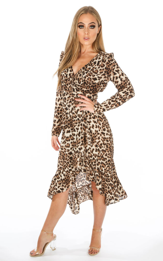 f65a07355a8e Long Sleeve Leopard Print Wrap Midi Dress | Dressed In Lucy | SilkFred