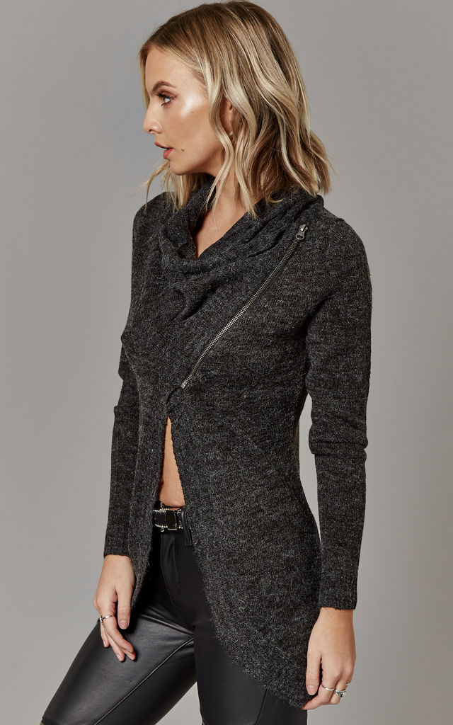 Dark Grey Melange Long Sleeve Cardigan With Zip Detail by ONLY