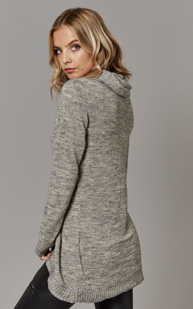 Light Grey Melange Long Sleeve Knit Cardigan With Zip Detail by ONLY