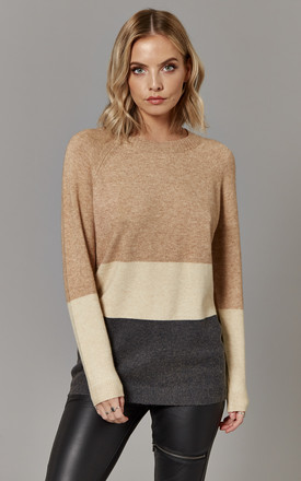 Tan Block Colour Pullover Knit by ONLY