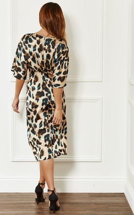 Green Leopard Print Twist Front Midi Dress by John Zack