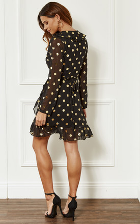 Black With Gold Spot Wrap Frill Mini Dress by John Zack