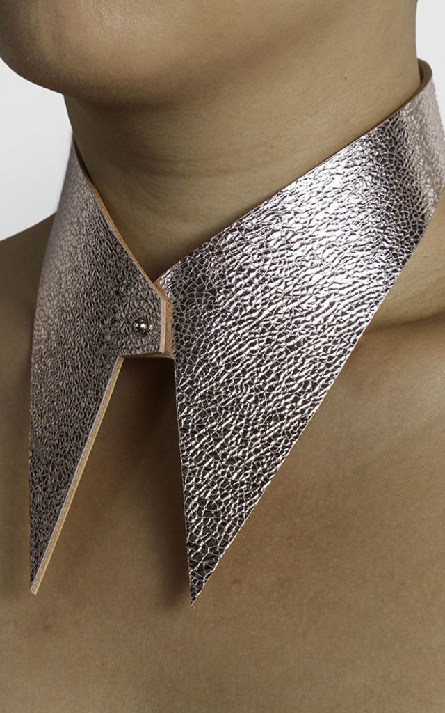 Pink Leather Collar by Isabel Wong