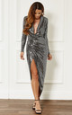 Silver Deep V Wrap Over Sequin Dress by John Zack