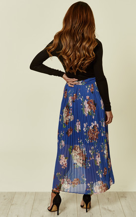 Blue Floral Pleated Midi Skirt by URBAN TOUCH