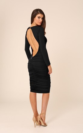 Bella Black Backless Midi Dress With Long Sleeves by Honor Gold Product photo