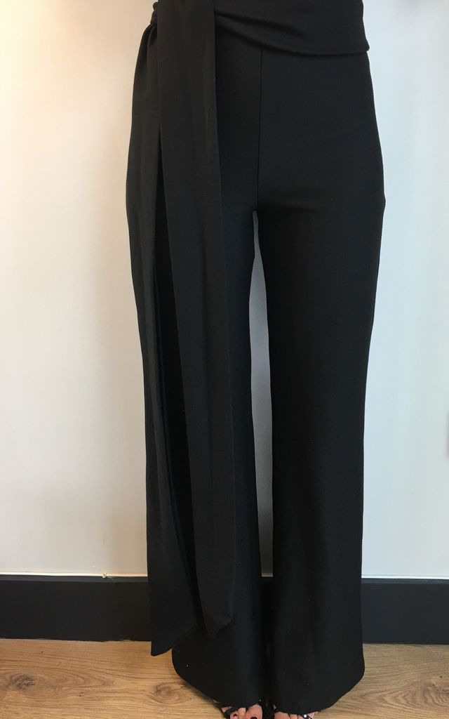 Black Ponte Roma Side Tie Flare Trousers by Giarosa